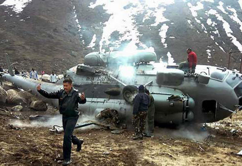 Крушение вертолета Ми-17 ВВС Индии в Гималаях попало на камеры