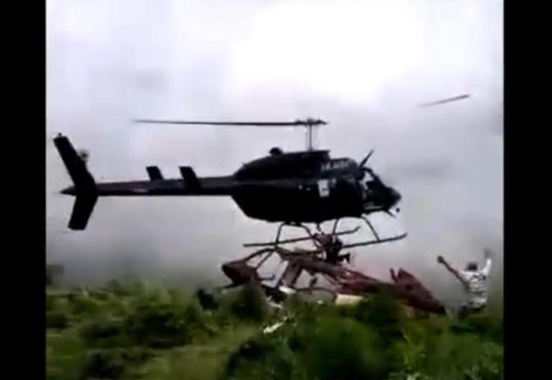 Крушение вертолета с летальным исходом попало на камеры