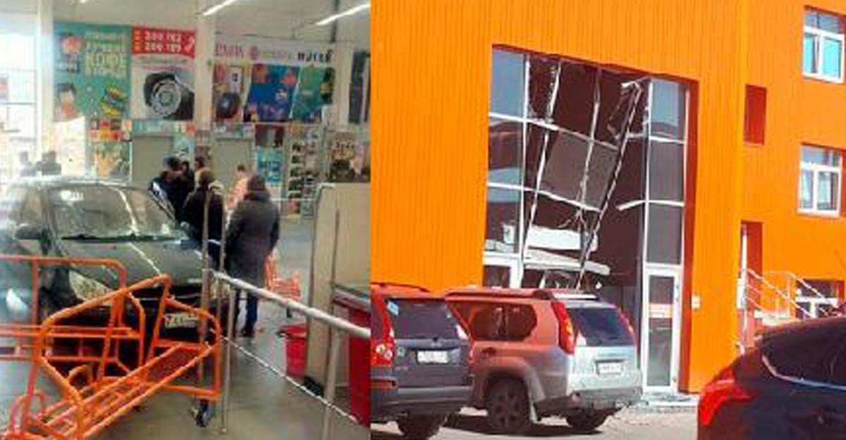 Перепутал педали: вМурманске шофёр въехал намашине вмагазин