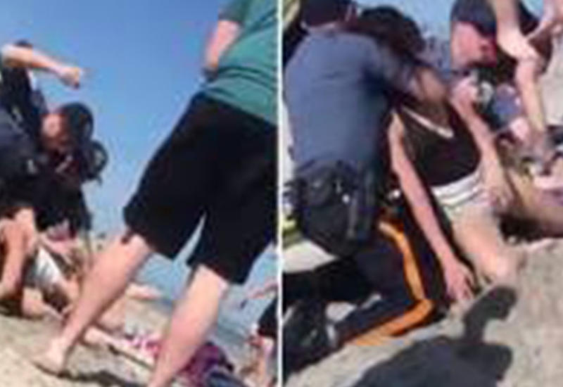 Полицейский жестоко избил женщину на пляже за закрытую бутылку выпивки