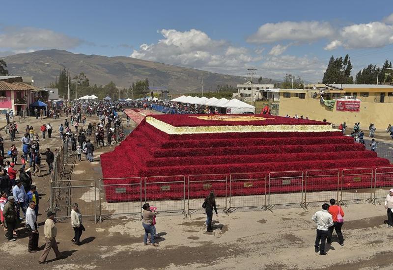 "В Эквадоре построили пирамиду из полумиллиона роз <span class=""color_red"">- ВИДЕО</span>"
