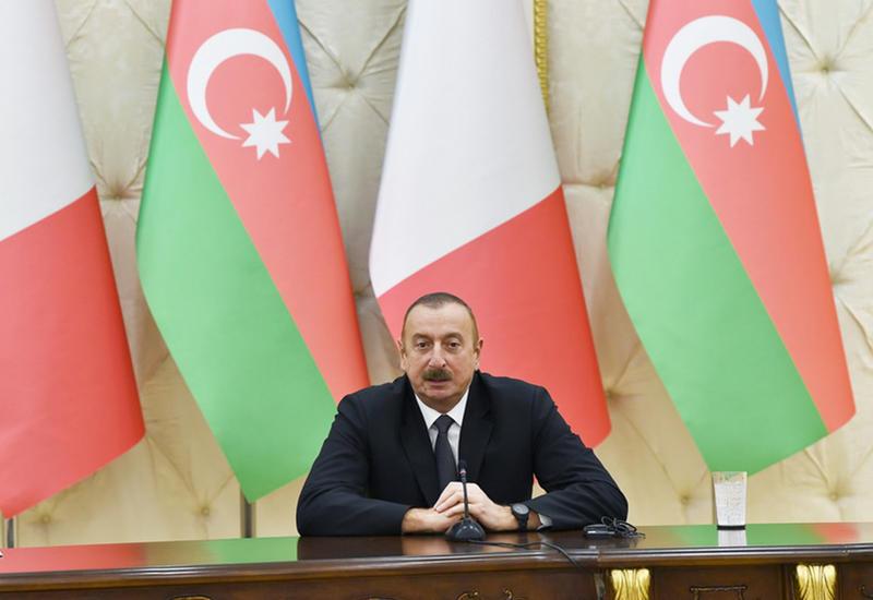 Президент Ильхам Алиев: Италия может сыграть активную роль в урегулировании нагорно-карабахского конфликта