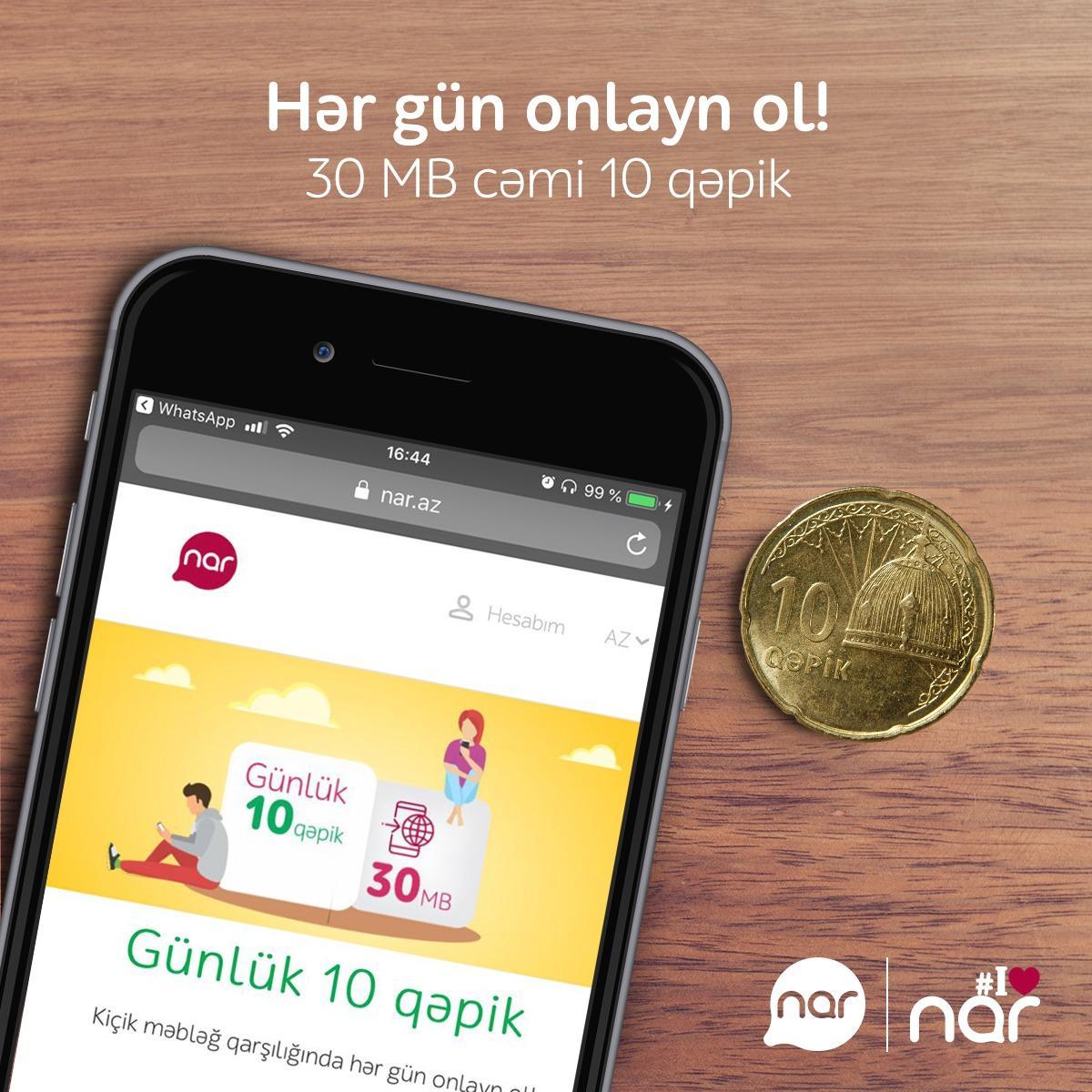 Nar Dan 10 Qəpiyə Gunluk Internet Paketi Təklifi