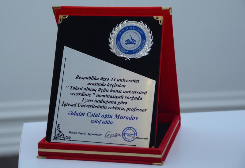 """UNEC стал победителем номинации «Какой университет вы выбрали бы для получения образования» <span class=""""color_red"""">- ФОТО</span>"""