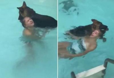"Собака не оценила шутки своей хозяйки и спасла якобы тóнущую девушку <span class=""color_red"">- ВИДЕО</span>"