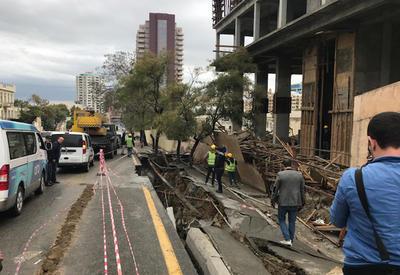 Из-за проседания дороги на центральной улице Баку пострадало несколько деревьев