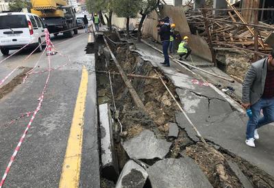 Началось восстановление просевшей в центре Баку дороги