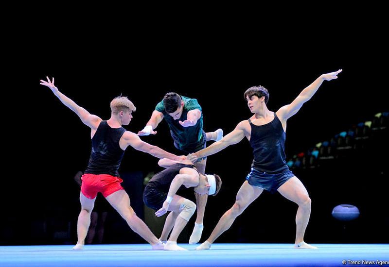 """В Национальной арене гимнастики проходят подиумные тренировки участников Кубка мира по акробатической гимнастике в Баку <span class=""""color_red"""">- ФОТОРЕПОРТАЖ</span>"""