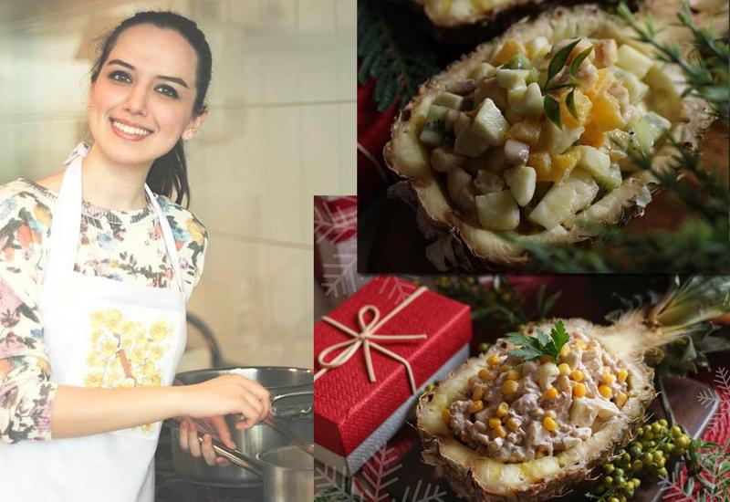 Новогодний эксперимент от Или Мамедовой - Куриный и фруктовый салат в ананасовой тарелке