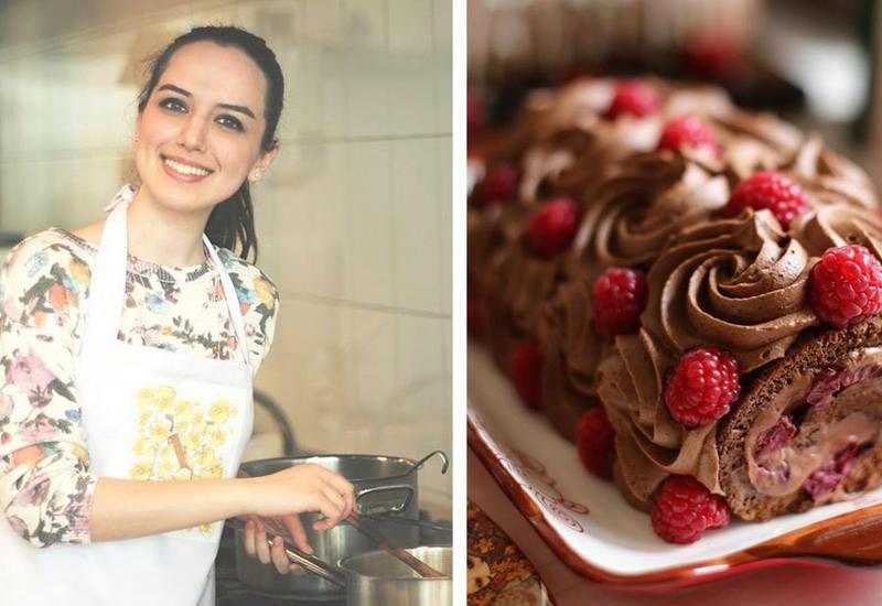 Шоколадный рулет со сливочно-шоколадным кремом и малиной – Рецепт от Или Мамедовой