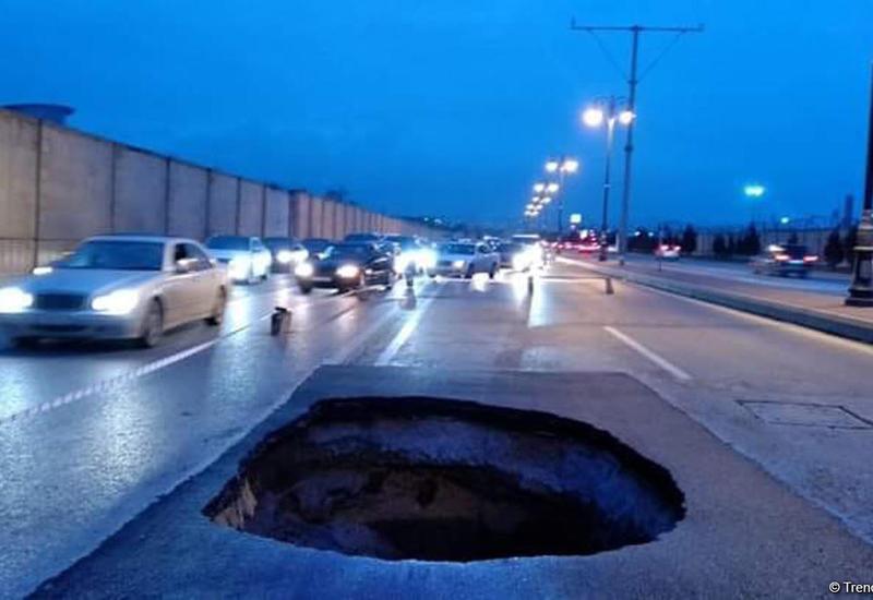В Баку восстановят просевшую дорогу на крупном проспекте в Баку