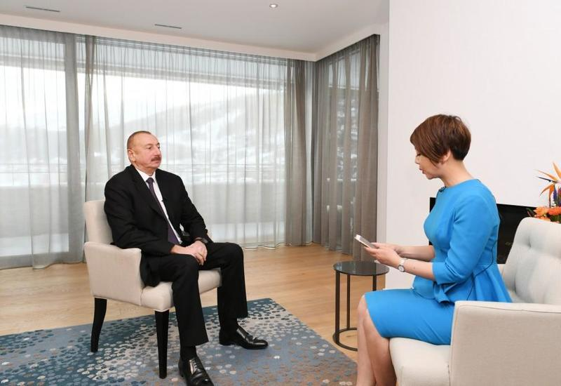 "Президент Ильхам Алиев в Давосе дал интервью китайскому телеканалу CGTN <span class=""color_red"">- ФОТО</span>"