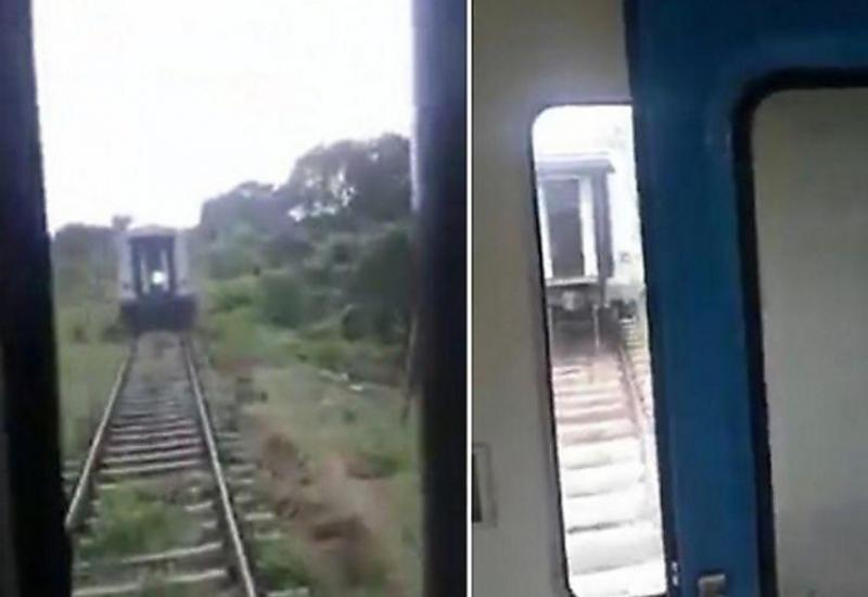 Два вагона с пассажирами догнали состав в Шри-Ланке