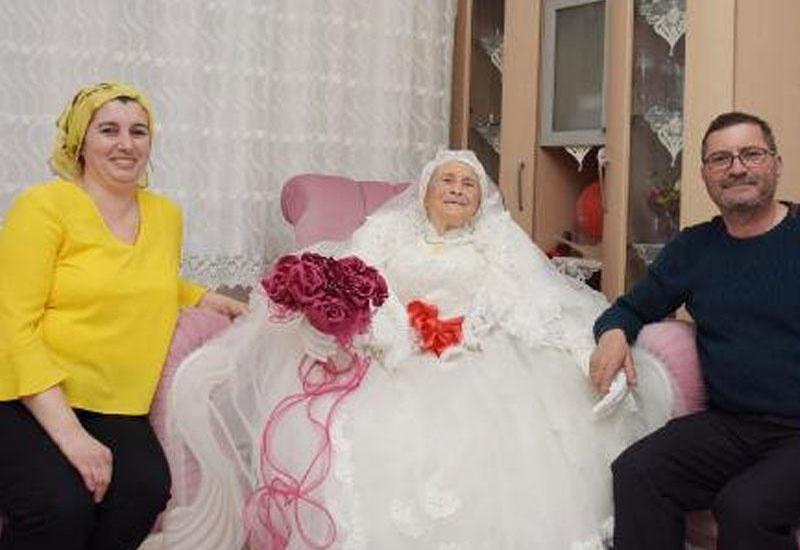 9 uşağı olan qadın 89 yaşında gəlinlik geyindi - VİDEO