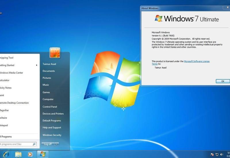 """""""Microsoft"""" """"Windows 7"""" əməliyyat sisteminin dəstəyini dayandırır"""
