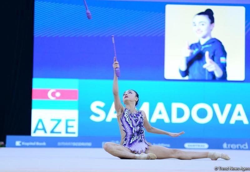 """Если бы не ошибка, то заняла бы первое место <span class=""""color_red"""">– азербайджанская гимнастка Нармина Самедова</span>"""