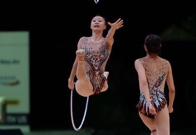 В Национальной арене гимнастики прошли подиумные тренировки участников Кубка мира по художественной гимнастике