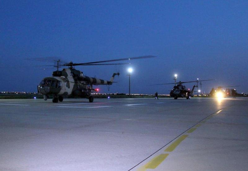 Военные вертолеты Азербайджана на военных учениях в Турции