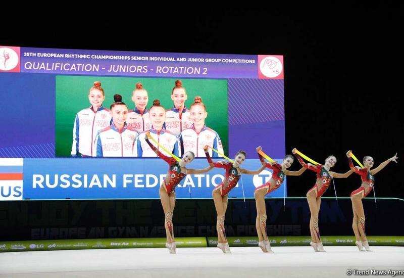 Команда России завоевала золотую медаль Чемпионата Европы в Баку в упражнениях с пятью обручами