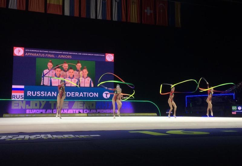 Команда России в групповых упражнениях завоевала вторую золотую медаль Чемпионата Европы по художественной гимнастике в Баку