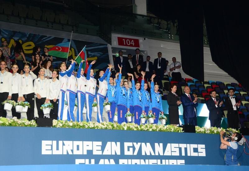 В Баку состоялась церемония награждения команд-победителей Чемпионата Европы по художественной гимнастике