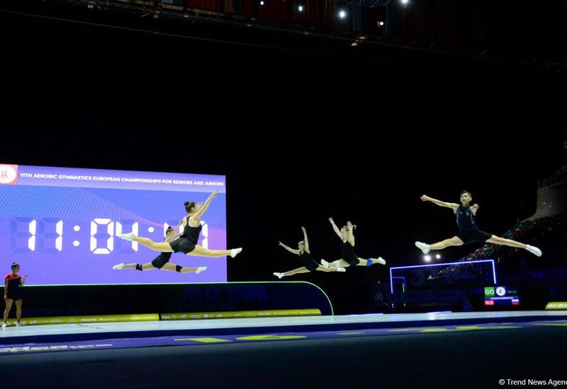 В Национальной арене гимнастики прошли подиумные тренировки участников Чемпионата Европы по аэробной гимнастике в Баку