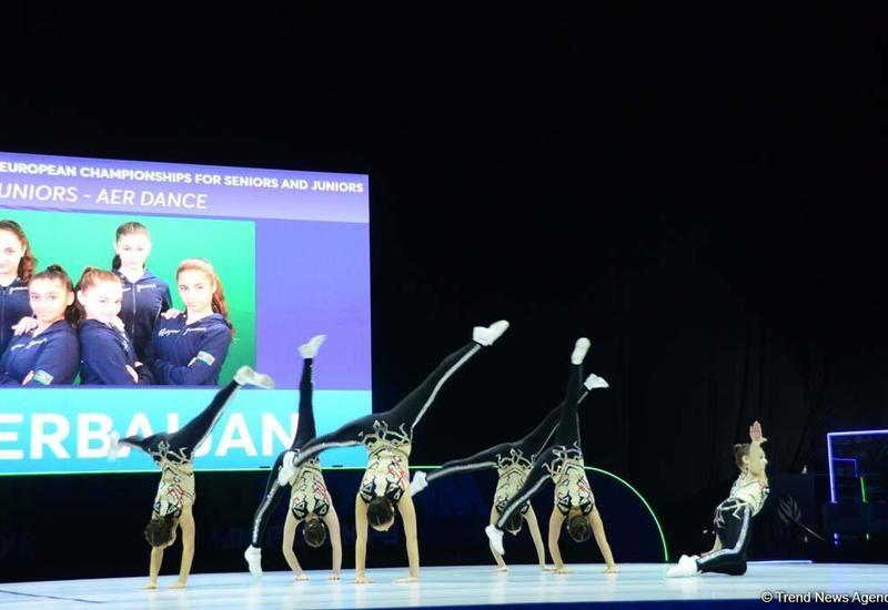 Команда Азербайджана вышла в финал Чемпионата Европы по аэробной гимнастике в программе аэро-данс среди юниоров