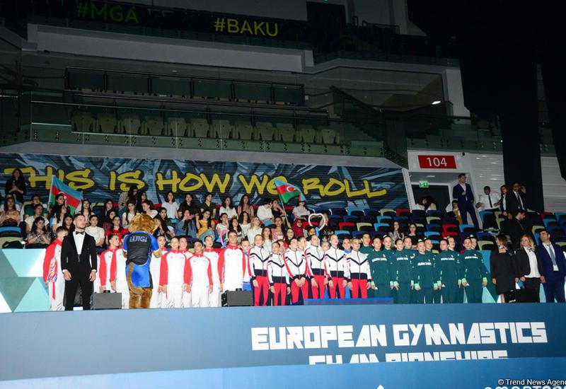 В Баку состоялась церемония награждения победителей Чемпионата Европы по аэробной гимнастике в командном зачете среди юниоров