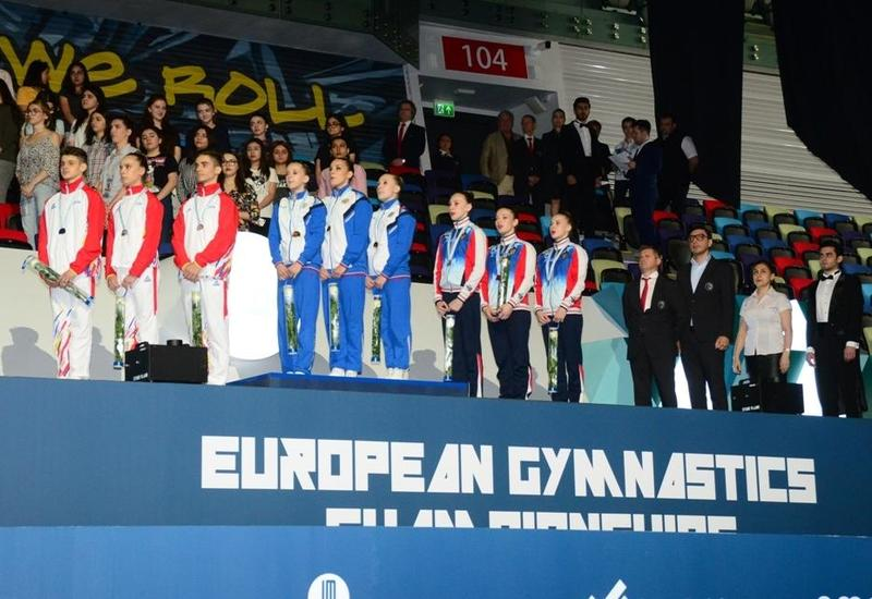В Баку прошла церемония награждения победителей Чемпионата Европы в составах трио, групп и программе аэро-данс