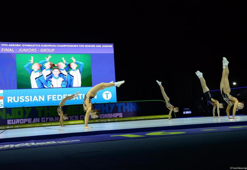 В Баку определились победители Чемпионата Европы по аэробной гимнастике среди юниоров, выступающих в группах