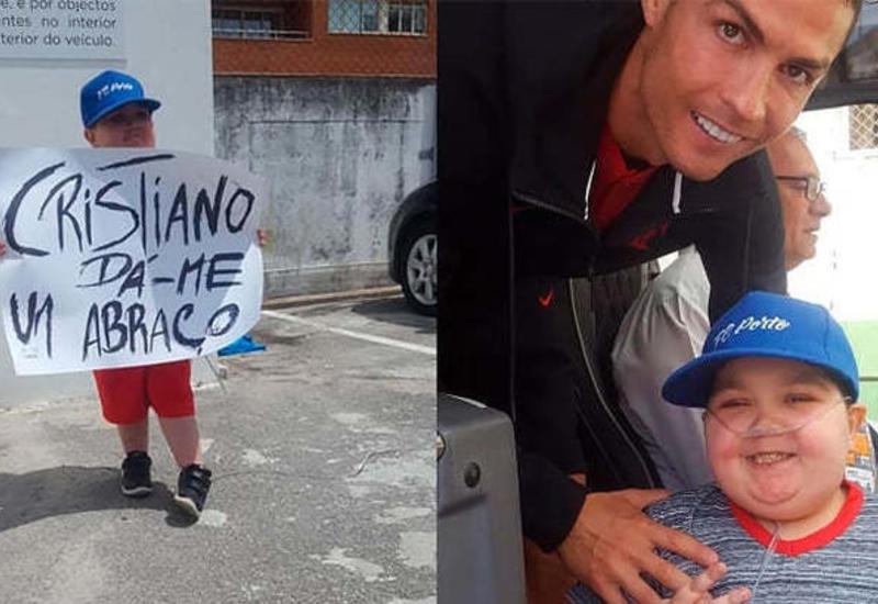 Роналду остановил автобус сборной ради фото с ребенком, больным лейкемией