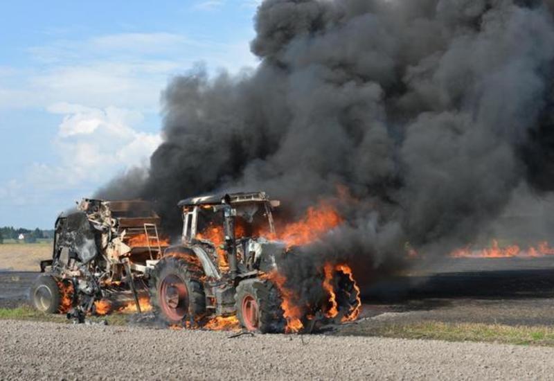 Tərtərdə iki traktor yanıb