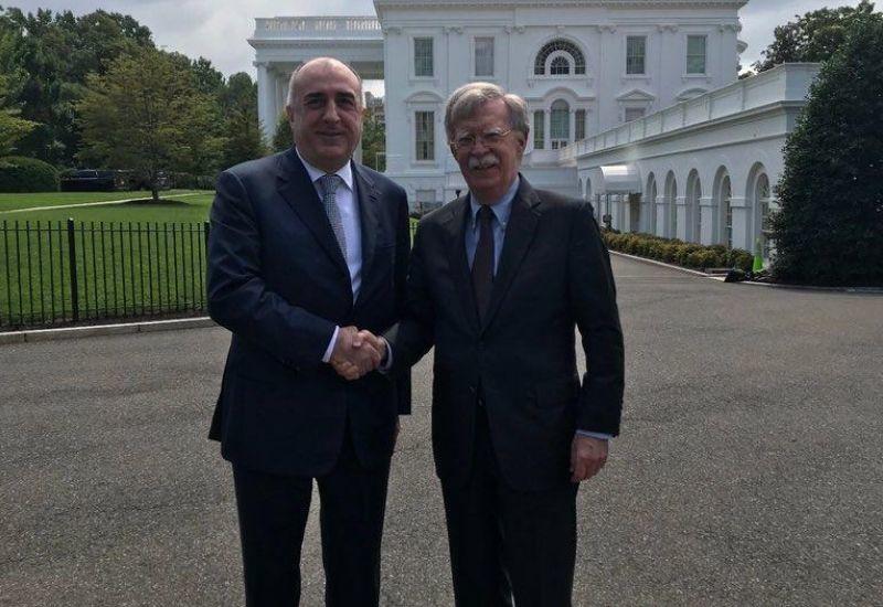 Эльмар Мамедъяров на переговорах по Карабаху с Джоном Болтоном