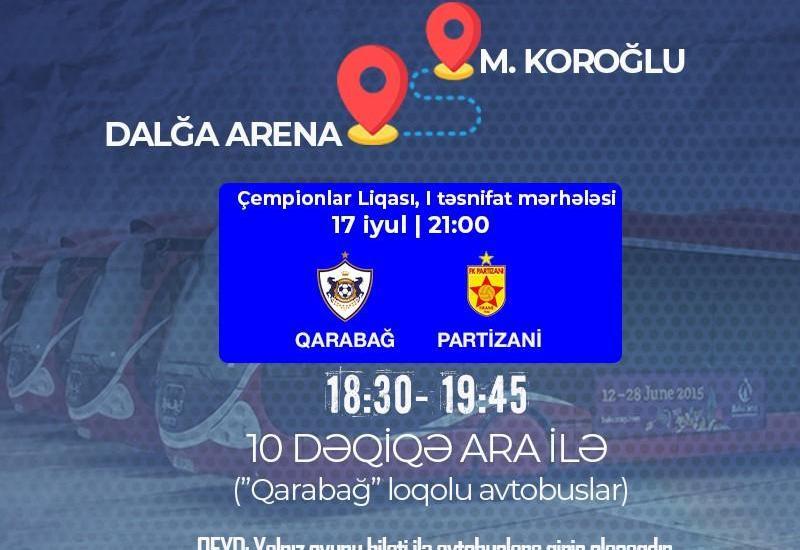 Для зрителей матча «Карабах»-«Партизани» выделят спецавтобусы
