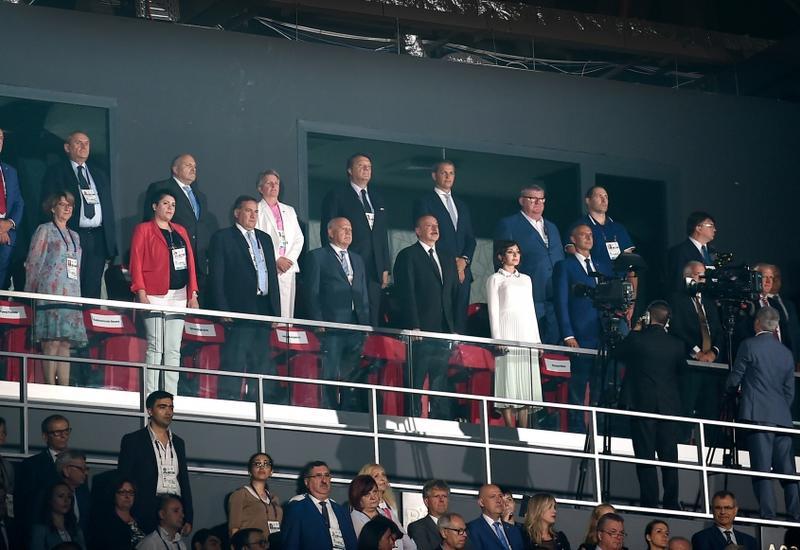 Президент Ильхам Алиев и Первая леди Мехрибан Алиева приняли  участие в церемонии открытия XV Европейского юношеского летнего олимпийского фестиваля в Баку
