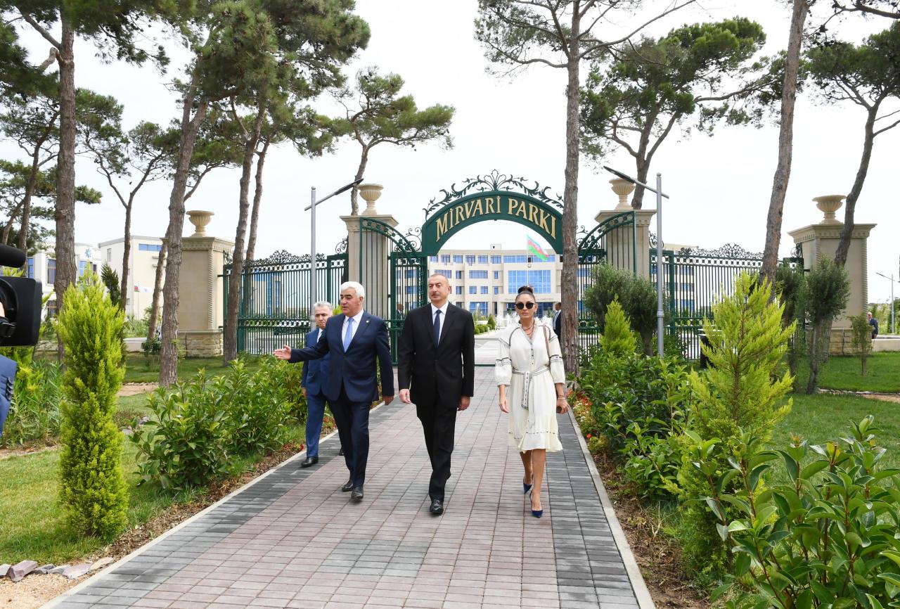 Президент Ильхам Алиев и Первая леди Мехрибан Алиева приняли участие в открытии паркового комплекса «Мирвари» в Пираллахинском районе