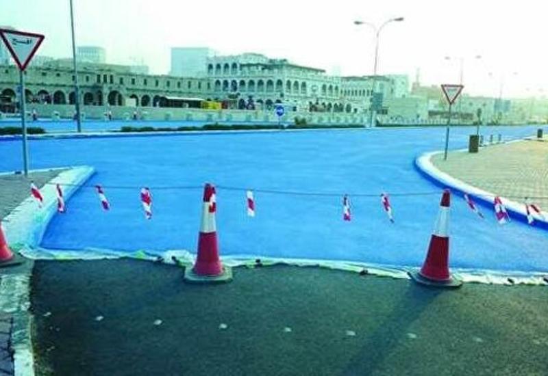 В Катаре появились дороги голубого цвета