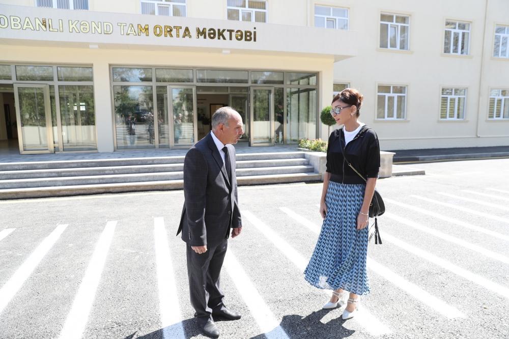 Первый вице-президент Мехрибан Алиева приняла участие в открытии Меликчобанлинской сельской полной средней школы в Шамахинском районе
