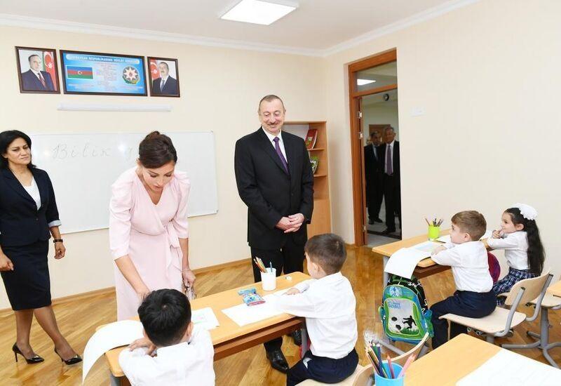 Президент Ильхам Алиев и Первая леди Мехрибан Алиева приняли участие в открытии нового учебного комплекса средней школы №300
