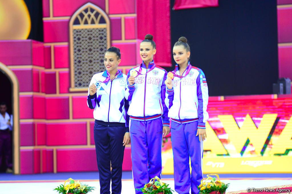 В Баку прошла церемония награждения победителей индивидуальных финалов 37-го Чемпионата мира по художественной гимнастике