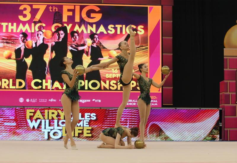 Групповая команда Азербайджана вступает в борьбу на Чемпионате мира по художественной гимнастике в Баку
