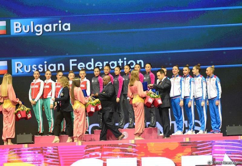 В Баку прошла церемония награждения победителей и призеров Чемпионата мира в групповых упражнениях