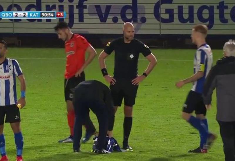 Арбитр сломал ногу во время матча, но отработал до конца