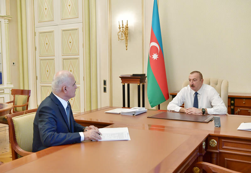 Президент Ильхам Алиев принял Шахина Мустафаева в связи с назначением его на новую должность