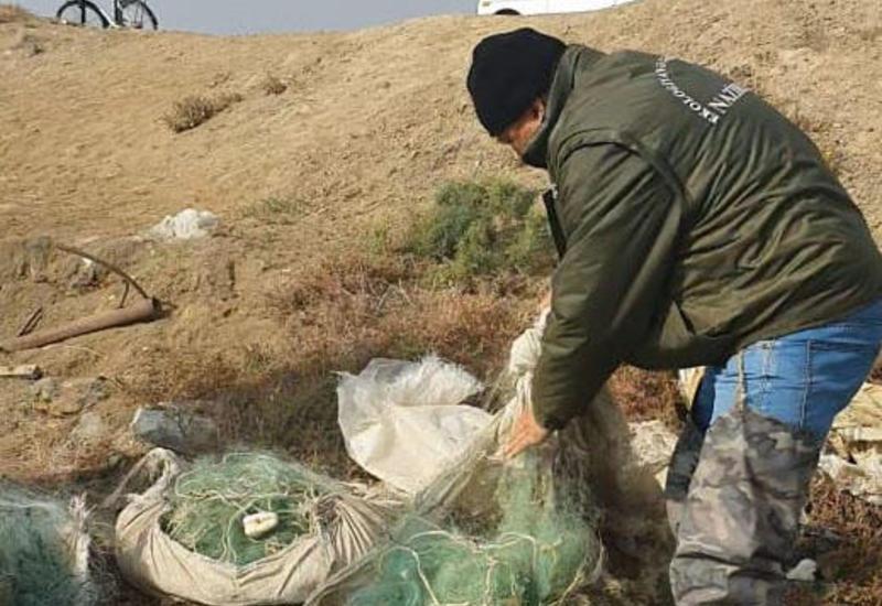 Побережье Каспийского моря очищают от запрещенных рыболовных средств