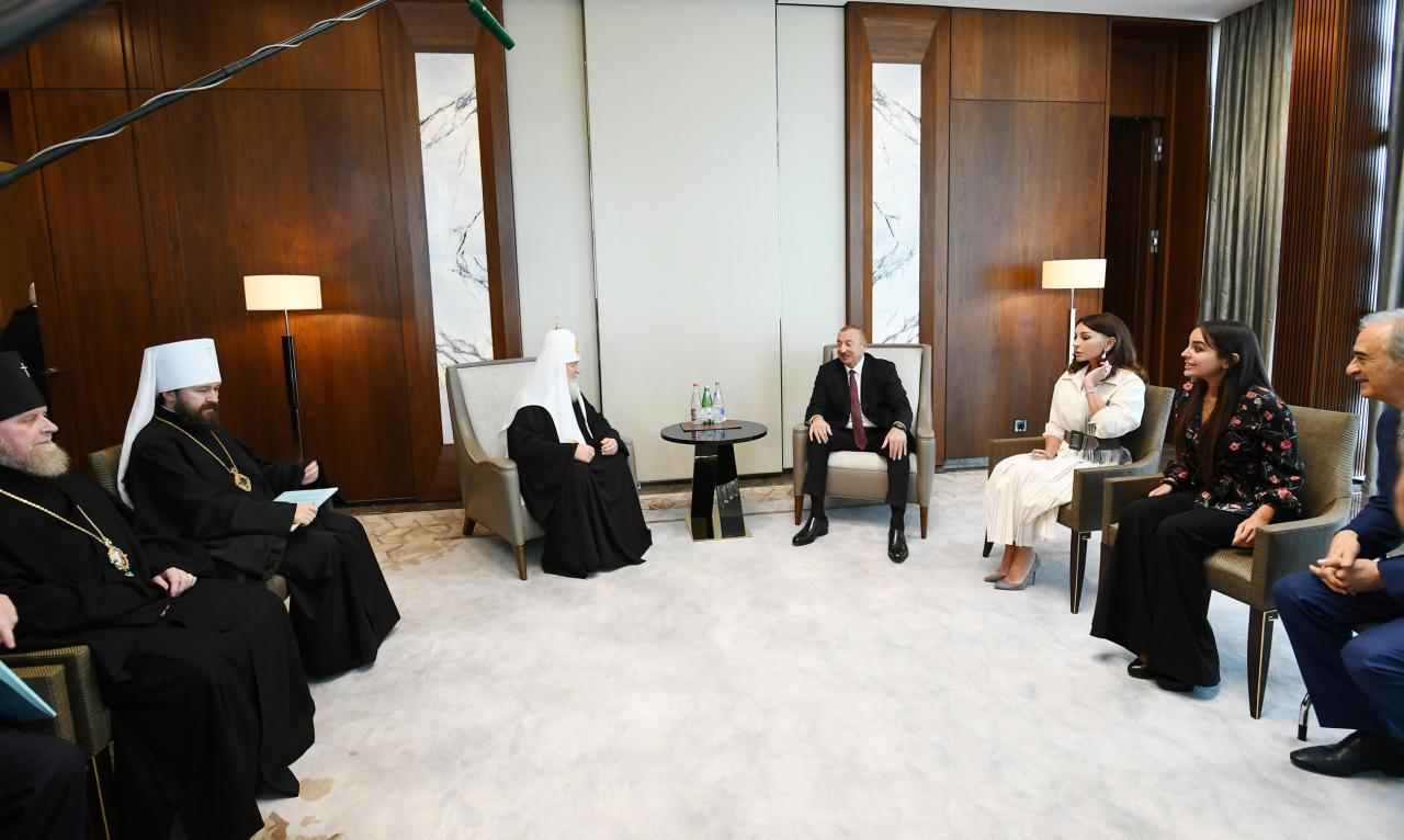 Президент Ильхам Алиев и Первая леди Мехрибан Алиева встретились с Патриархом  Московским и всея Руси Кириллом