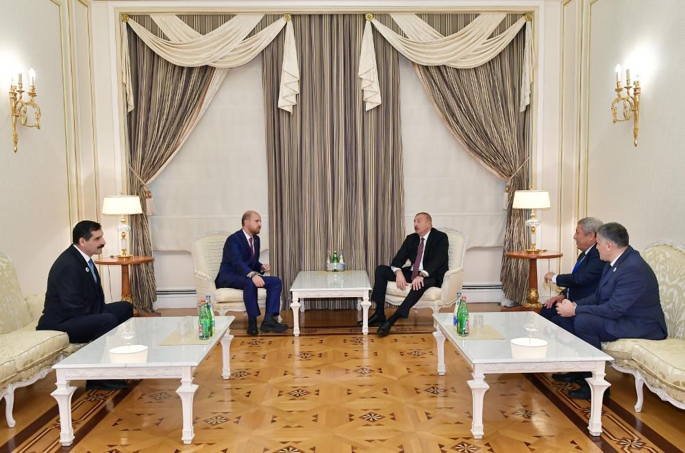 Президент Ильхам Алиев принял делегацию во главе с председателем Всемирной конфедерации этноспорта Билалом Эрдоганом