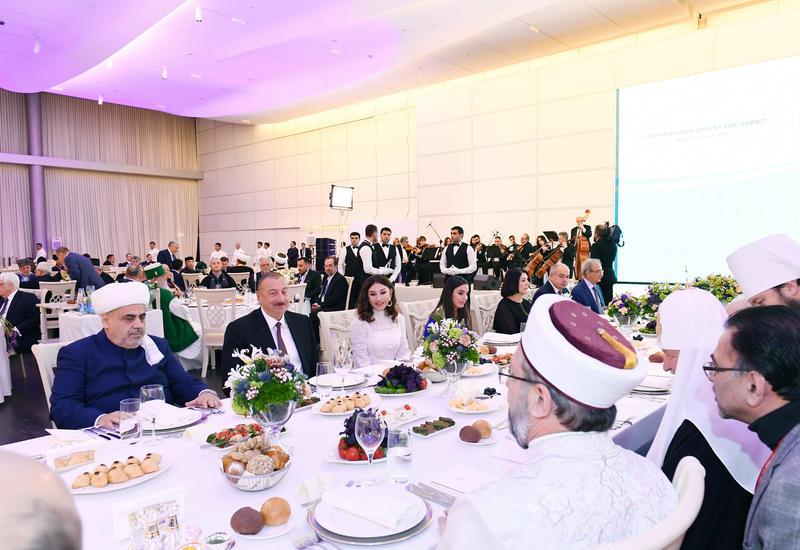 От имени Президента Ильхама Алиева дан прием в честь участников II Саммита мировых религиозных лидеров в Баку