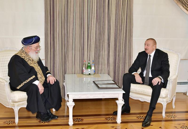Президент Ильхам Алиев принял главного ортодоксального раввина Гудса сефарди