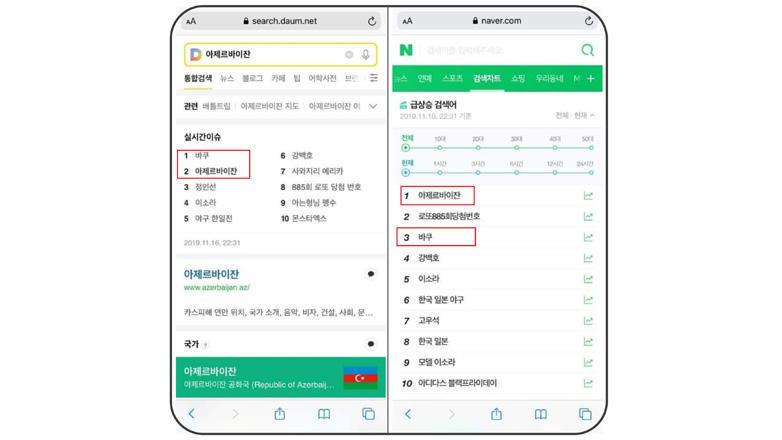 Слова «Баку» и «Азербайджан» - самые популярные поисковые запросы в Южной Корее